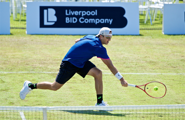 LIVERPOOL, ENGLAND - Thursday, June 20, 2019: Robert Kendrick (USA) during the Liverpool International Tennis Tournament 2019 at the Liverpool Cricket Club. (Pic by David Rawcliffe/Propaganda)