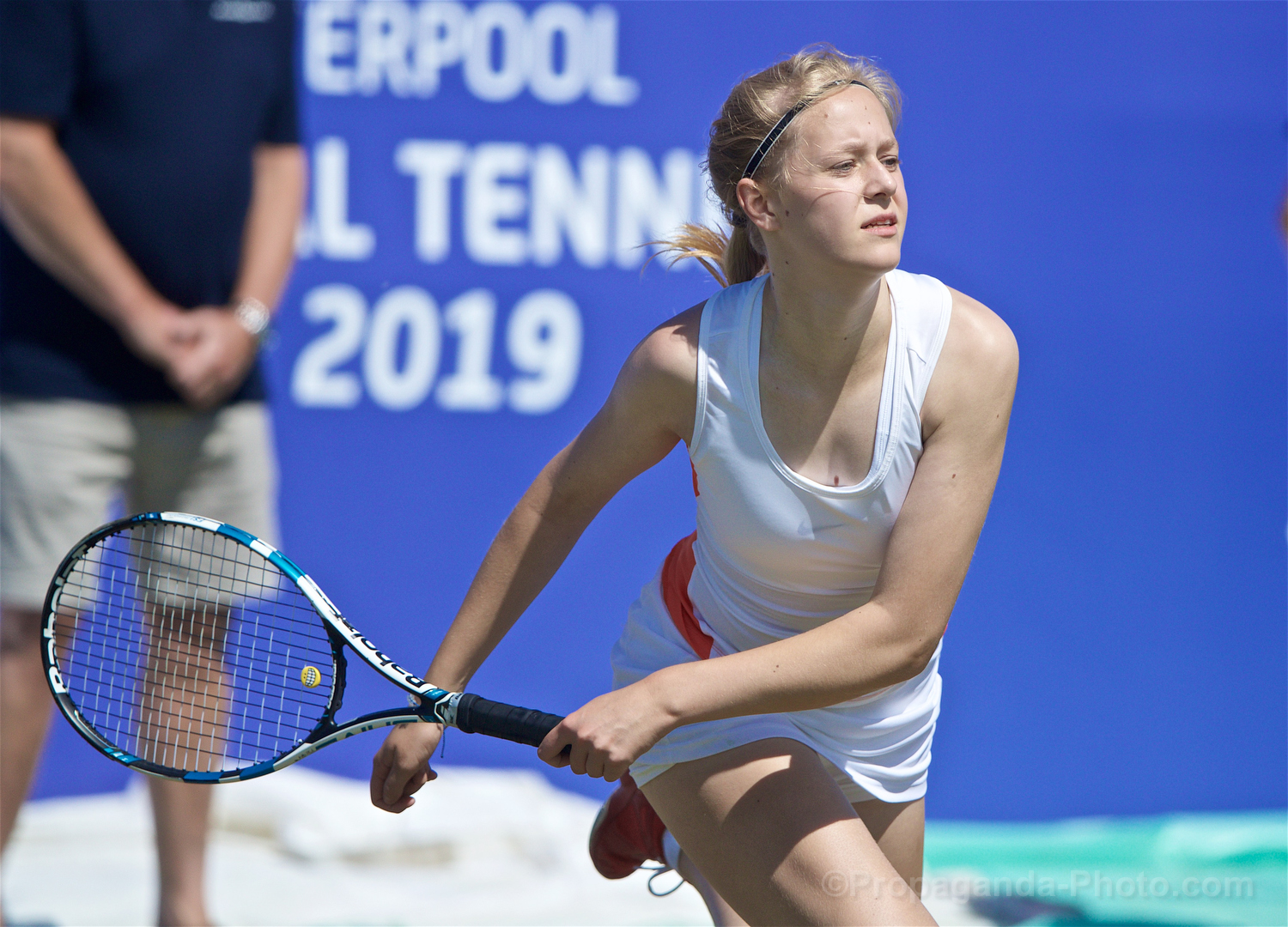 LIVERPOOL, ENGLAND - Thursday, June 20, 2019: Rhona Cook (GBR) during the Liverpool International Tennis Tournament 2019 at the Liverpool Cricket Club. (Pic by David Rawcliffe/Propaganda)