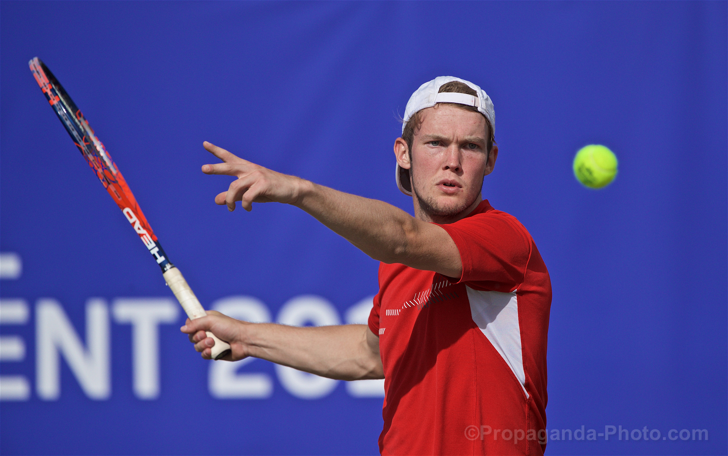 LIVERPOOL, ENGLAND - Thursday, June 20, 2019: David Quayle (GBR) during the Liverpool International Tennis Tournament 2019 at the Liverpool Cricket Club. (Pic by David Rawcliffe/Propaganda)