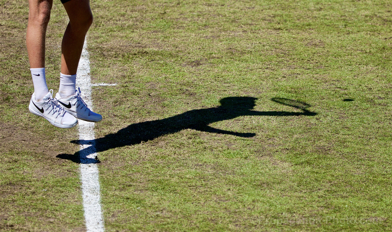 LIVERPOOL, ENGLAND - Friday, June 21, 2019: The shadow of Adam Jones (GBR) during Day Two of the Liverpool International Tennis Tournament 2019 at the Liverpool Cricket Club. (Pic by David Rawcliffe/Propaganda)