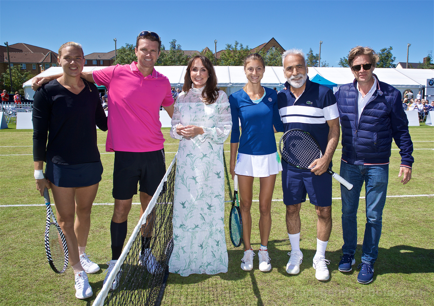 LIVERPOOL, ENGLAND - Friday, June 21, 2019: Kaia Kanepi (EST), Robert Kendrick (USA) and Corinna Dentoni (ITA) & Mansour Bahrami (IRN) with Anders Borg. during Day Two of the Liverpool International Tennis Tournament 2019 at the Liverpool Cricket Club. (Pic by David Rawcliffe/Propaganda)