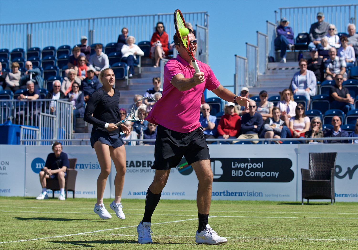 LIVERPOOL, ENGLAND - Friday, June 21, 2019: Robert Kendrick (USA) during Day Two of the Liverpool International Tennis Tournament 2019 at the Liverpool Cricket Club. (Pic by David Rawcliffe/Propaganda)