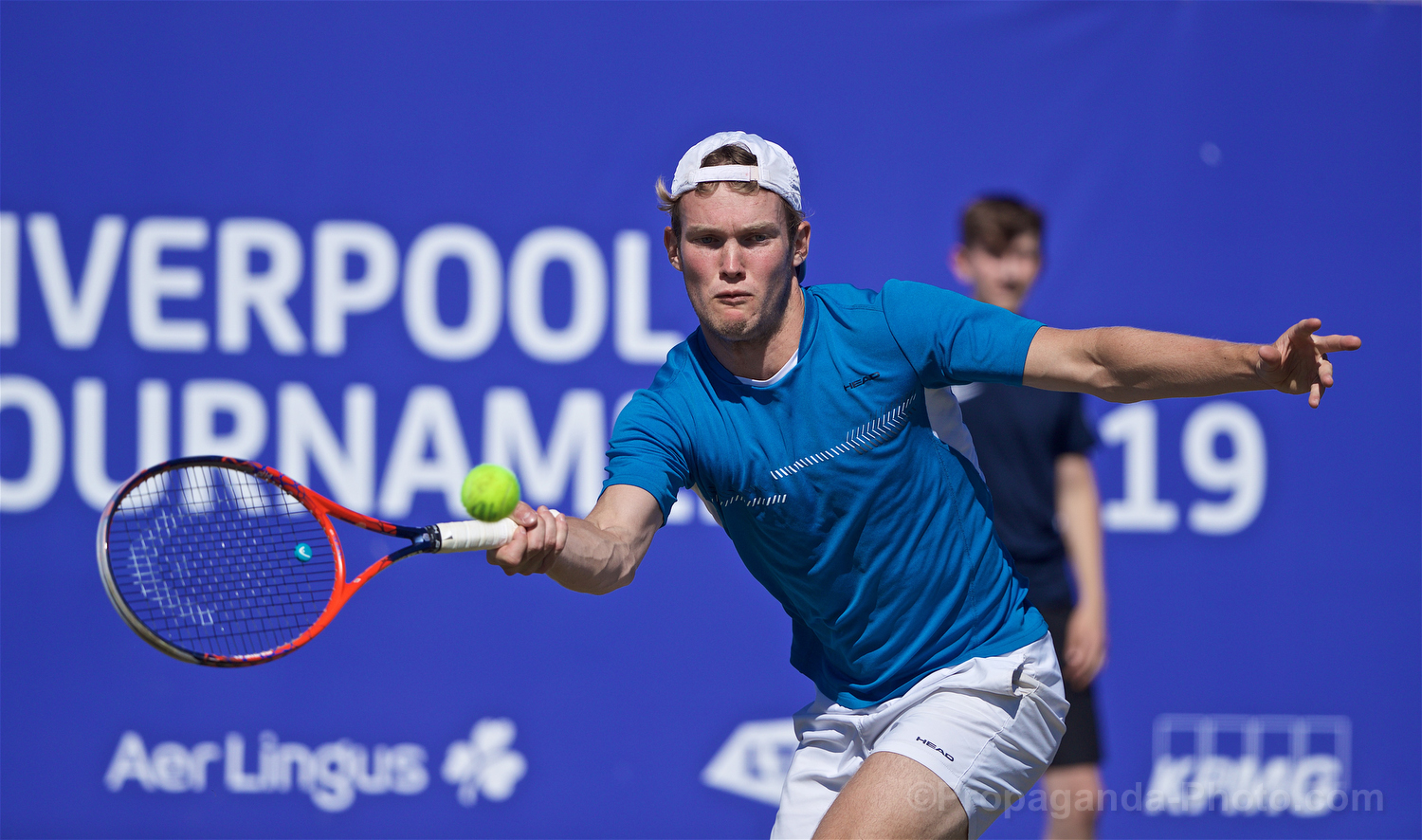 LIVERPOOL, ENGLAND - Friday, June 21, 2019: David Quayle (GBR) during Day Two of the Liverpool International Tennis Tournament 2019 at the Liverpool Cricket Club. (Pic by David Rawcliffe/Propaganda)