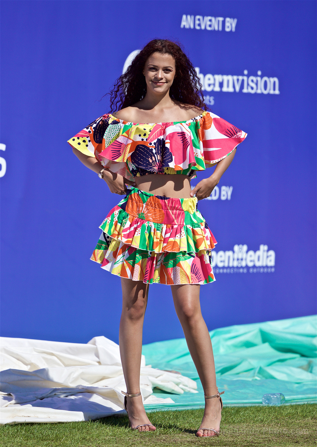 LIVERPOOL, ENGLAND - Friday, June 21, 2019: Model Cassie Simms during a fashion show on Day Two of the Liverpool International Tennis Tournament 2019 at the Liverpool Cricket Club. (Pic by David Rawcliffe/Propaganda)