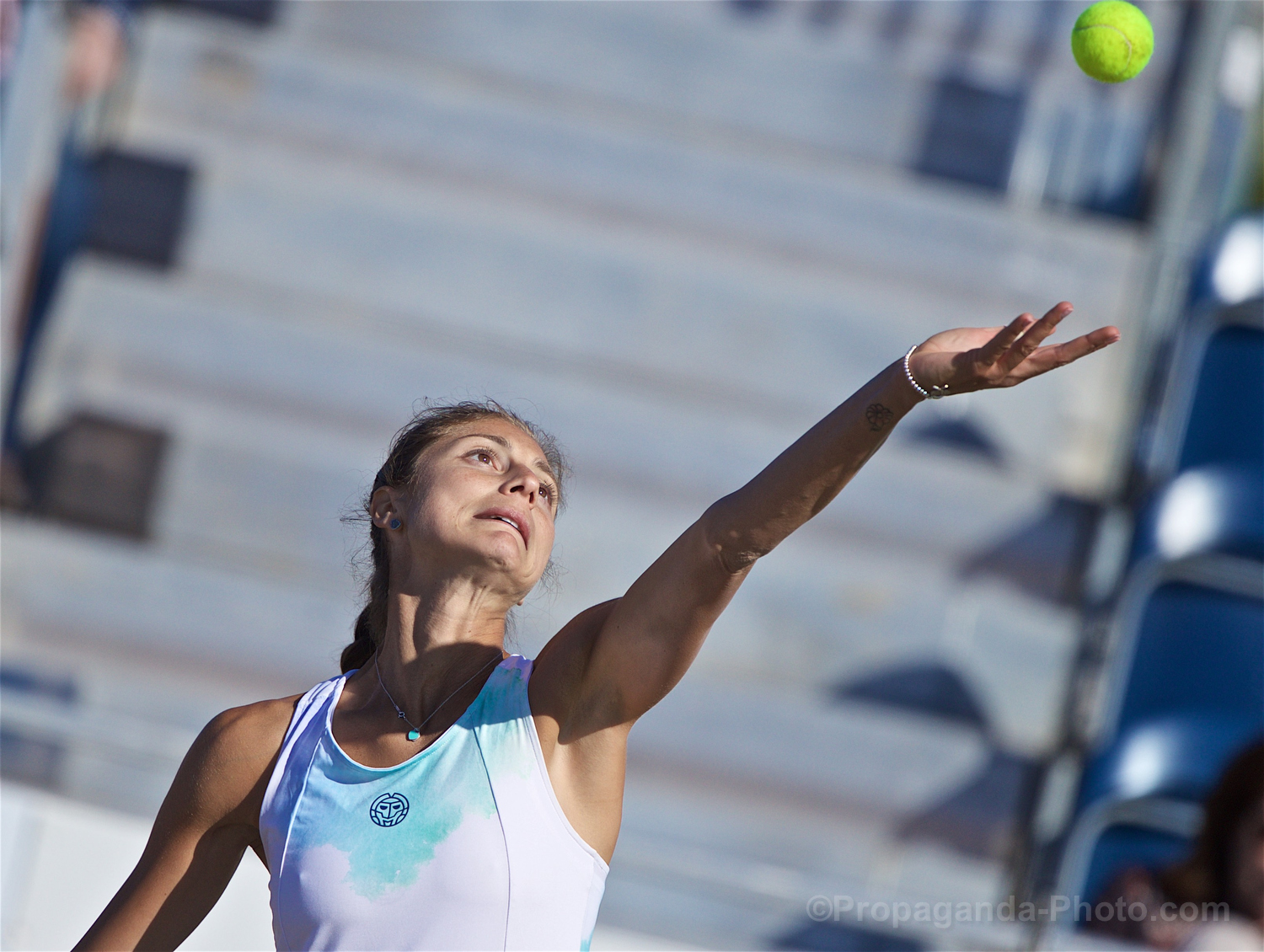 LIVERPOOL, ENGLAND - Friday, June 21, 2019: Corinna Dentoni (ITA) during Day Two of the Liverpool International Tennis Tournament 2019 at the Liverpool Cricket Club. (Pic by David Rawcliffe/Propaganda)
