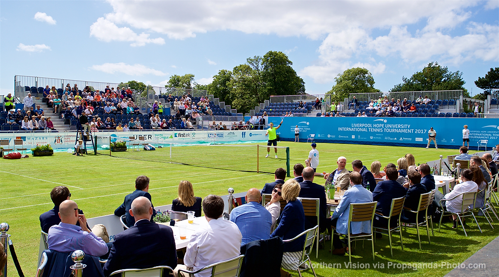 LIVERPOOL, ENGLAND - Thursday, June 15, 2017: Corporate guests watch as Marcus Willis (GBR) takes on Adam Jones (GBR) during Day One of the Liverpool Hope University International Tennis Tournament 2017 at the Liverpool Cricket Club. (Pic by David Rawcliffe/Propaganda)