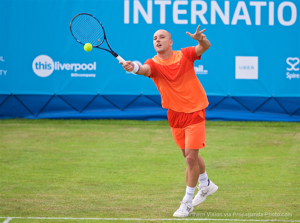 LIVERPOOL, ENGLAND - Thursday, June 15, 2017: Steve Darcis (BEL) during Day One of the Liverpool Hope University International Tennis Tournament 2017 at the Liverpool Cricket Club. (Pic by David Rawcliffe/Propaganda)