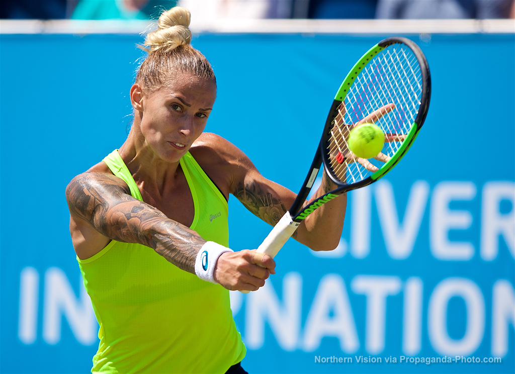 LIVERPOOL, ENGLAND - Sunday, June 18, 2017: Polona Hercog (SLO) during Day Four of the Liverpool Hope University International Tennis Tournament 2017 at the Liverpool Cricket Club. (Pic by David Rawcliffe/Propaganda)