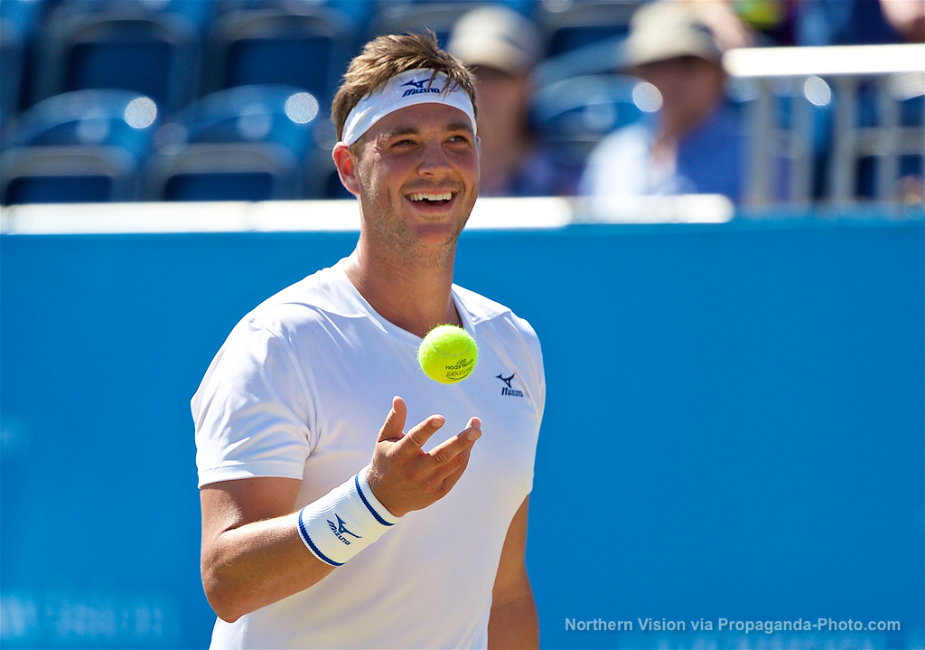LIVERPOOL, ENGLAND - Sunday, June 18, 2017: Marcus Willis (GBR) during Day Four of the Liverpool Hope University International Tennis Tournament 2017 at the Liverpool Cricket Club. (Pic by David Rawcliffe/Propaganda)