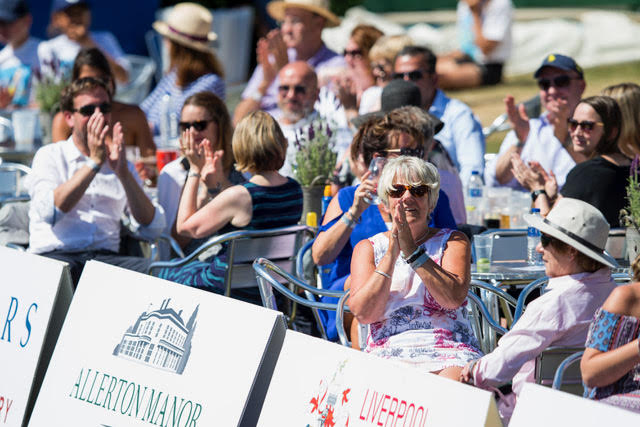 LIVERPOOL, ENGLAND - Sunday, June 24, 2018: Corporate guests sit next to centre court during day four of the Williams BMW Liverpool International Tennis Tournament 2018 at Aigburth Cricket Club. (Pic by Paul Greenwood/Propaganda)