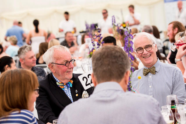 LIVERPOOL, ENGLAND - Sunday, June 24, 2018: Corporate guests enjoy lunch inside the hospitality tent during day four of the Williams BMW Liverpool International Tennis Tournament 2018 at Aigburth Cricket Club. (Pic by Paul Greenwood/Propaganda)