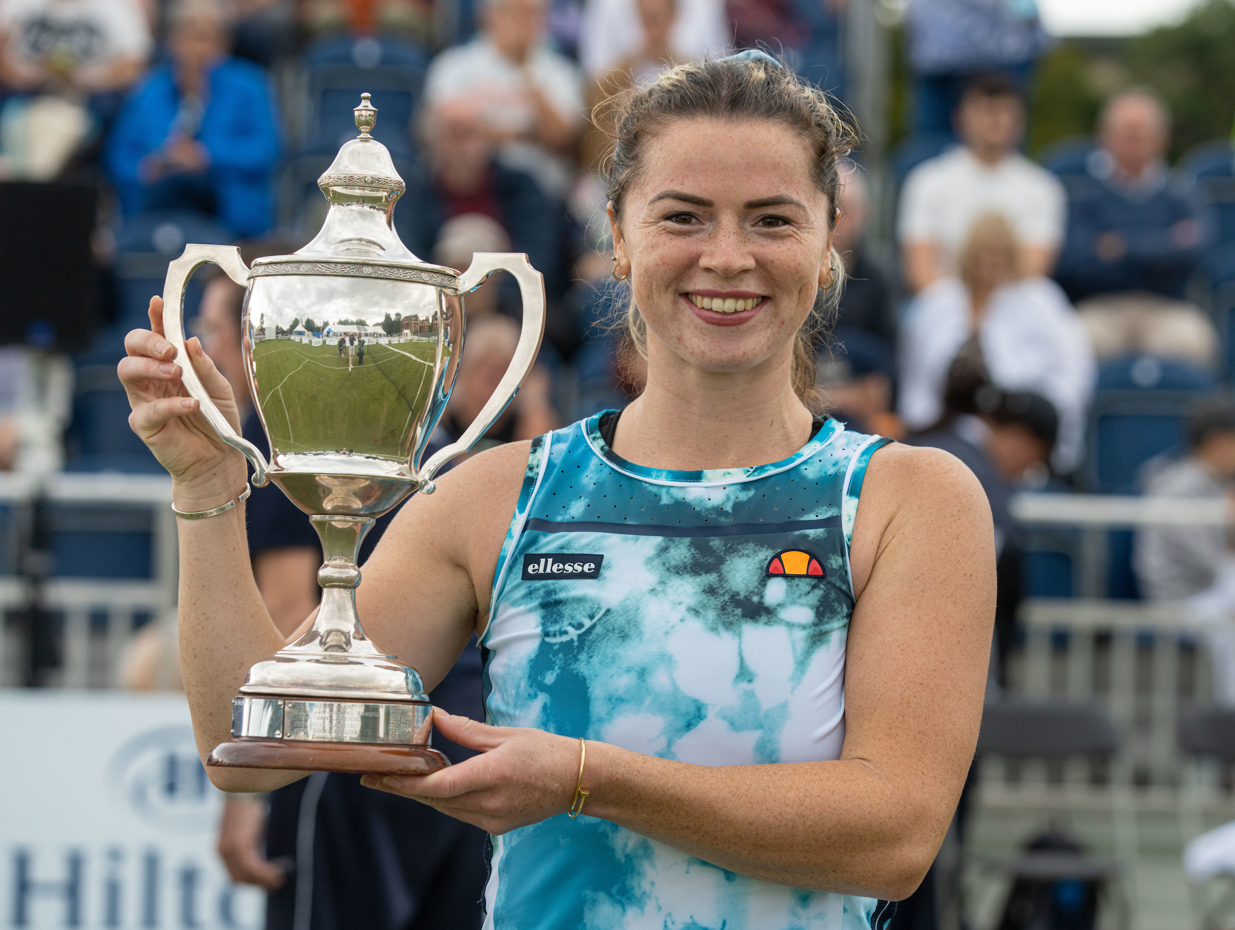LIVERPOOL, ENGLAND - Friday, August 20, 2021: Women's 2021 Champion Beth Grey with the Boodles Trophy during the Liverpool International Tennis Tournament at Liverpool Cricket Club. (Pic by David Rawcliffe/Propaganda)